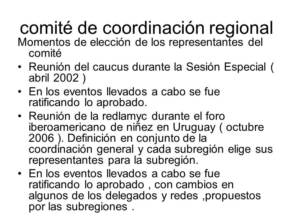 comité de coordinación regional Momentos de elección de los representantes del comité Reunión del caucus durante la Sesión Especial ( abril 2002 ) En