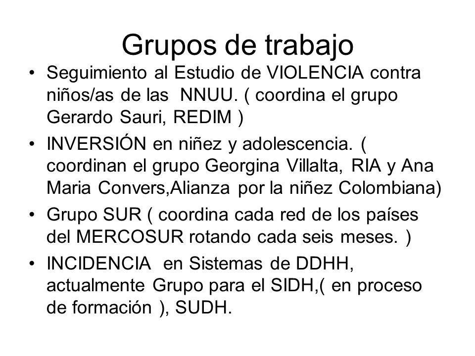 Grupos de trabajo Seguimiento al Estudio de VIOLENCIA contra niños/as de las NNUU. ( coordina el grupo Gerardo Sauri, REDIM ) INVERSIÓN en niñez y ado