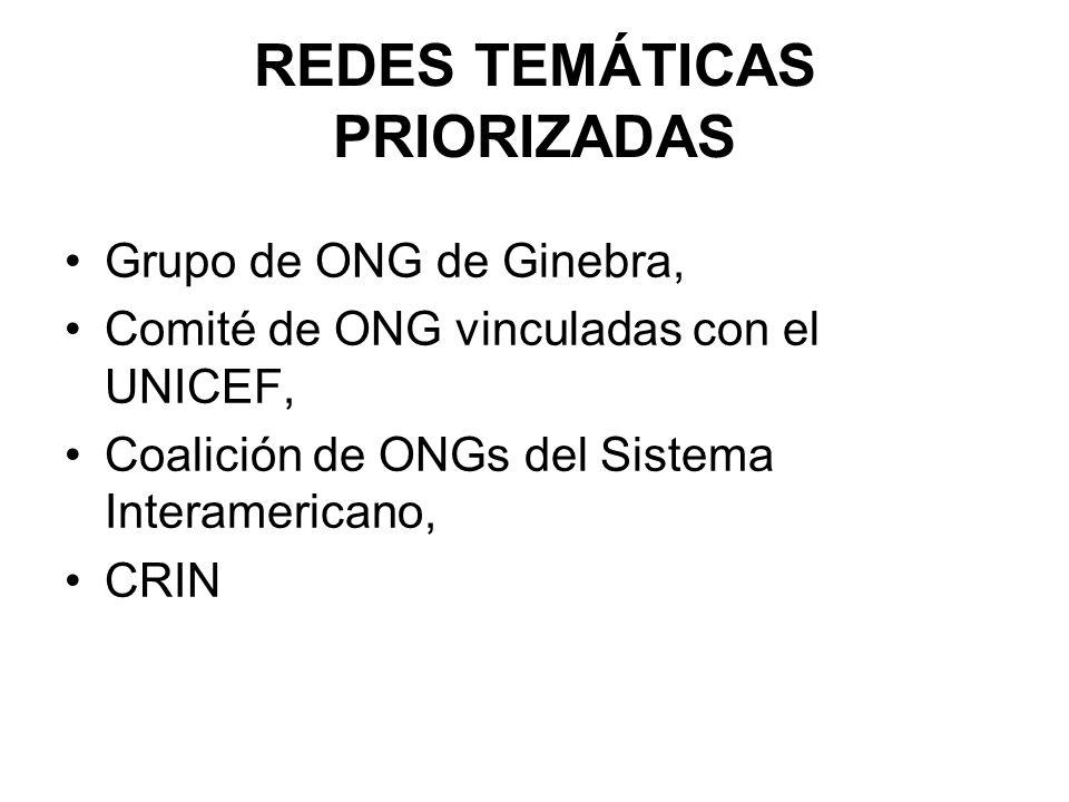 REDES TEMÁTICAS PRIORIZADAS Grupo de ONG de Ginebra, Comité de ONG vinculadas con el UNICEF, Coalición de ONGs del Sistema Interamericano, CRIN