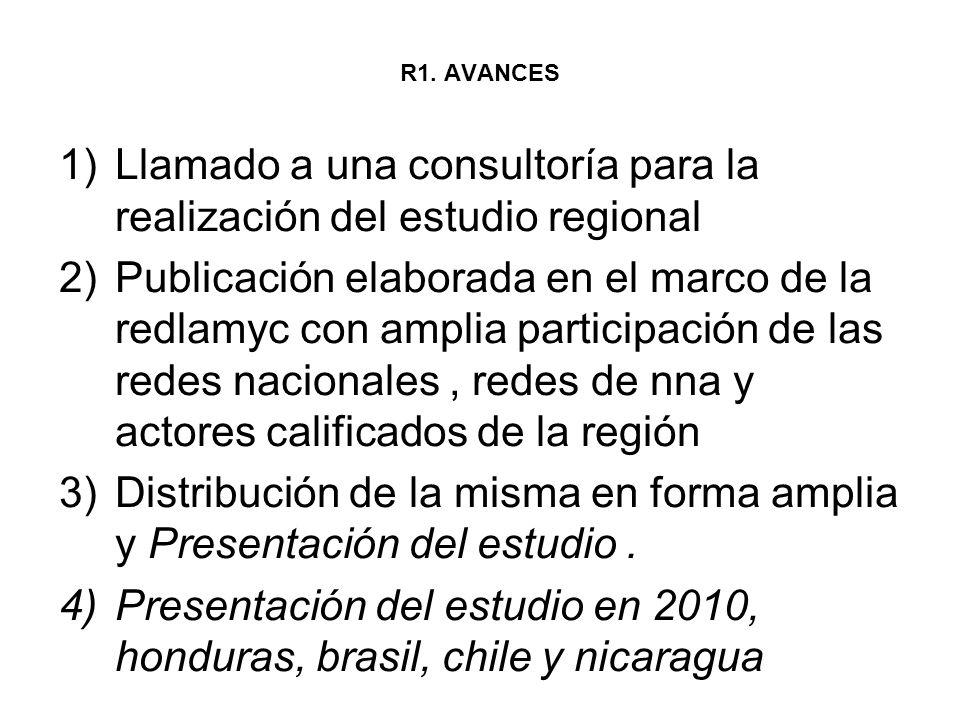 R1. AVANCES 1)Llamado a una consultoría para la realización del estudio regional 2)Publicación elaborada en el marco de la redlamyc con amplia partici