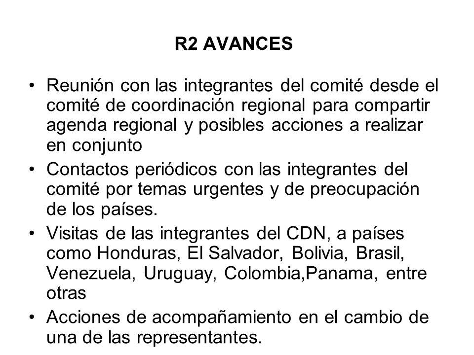 R2 AVANCES Reunión con las integrantes del comité desde el comité de coordinación regional para compartir agenda regional y posibles acciones a realiz