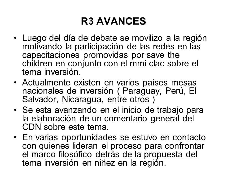 R3 AVANCES Luego del día de debate se movilizo a la región motivando la participación de las redes en las capacitaciones promovidas por save the child