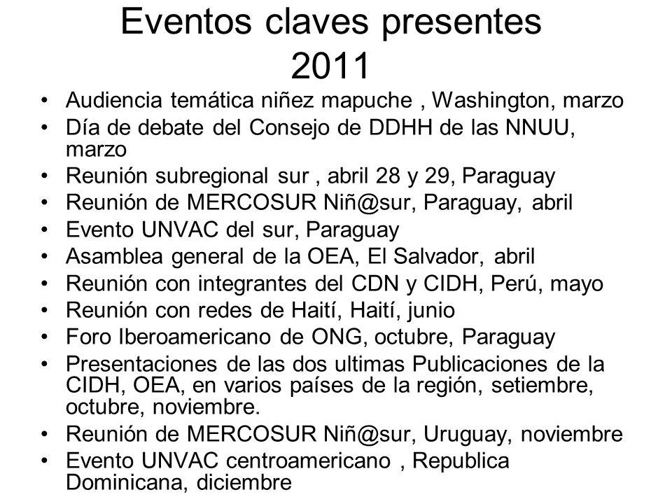 Eventos claves presentes 2011 Audiencia temática niñez mapuche, Washington, marzo Día de debate del Consejo de DDHH de las NNUU, marzo Reunión subregi
