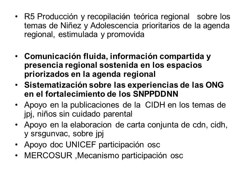. R5 Producción y recopilación teórica regional sobre los temas de Niñez y Adolescencia prioritarios de la agenda regional, estimulada y promovida Com