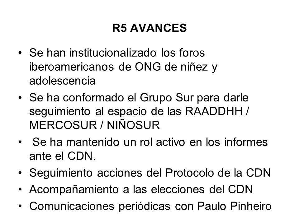 R5 AVANCES Se han institucionalizado los foros iberoamericanos de ONG de niñez y adolescencia Se ha conformado el Grupo Sur para darle seguimiento al