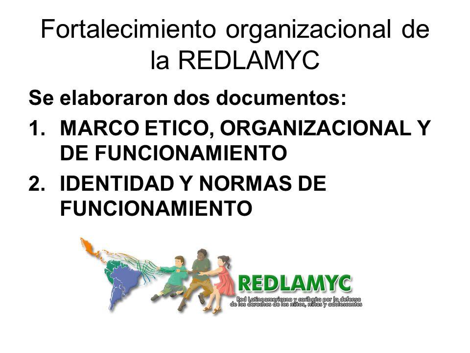 Fortalecimiento organizacional de la REDLAMYC Se elaboraron dos documentos: 1.MARCO ETICO, ORGANIZACIONAL Y DE FUNCIONAMIENTO 2.IDENTIDAD Y NORMAS DE