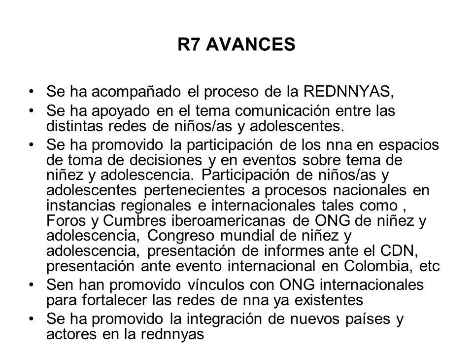 R7 AVANCES Se ha acompañado el proceso de la REDNNYAS, Se ha apoyado en el tema comunicación entre las distintas redes de niños/as y adolescentes. Se