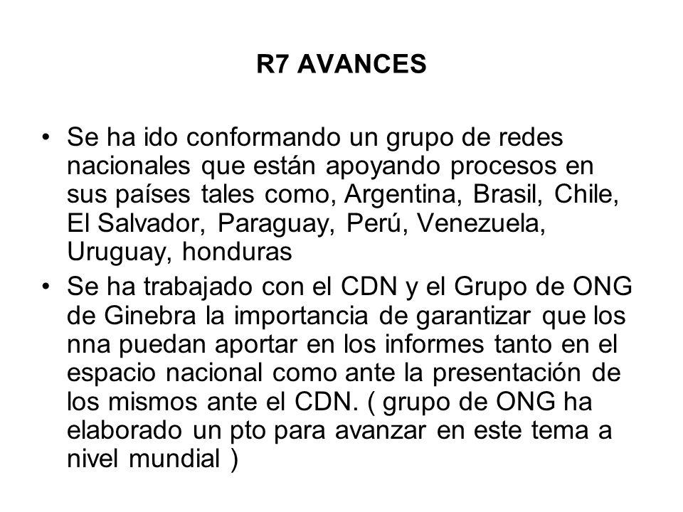 R7 AVANCES Se ha ido conformando un grupo de redes nacionales que están apoyando procesos en sus países tales como, Argentina, Brasil, Chile, El Salva