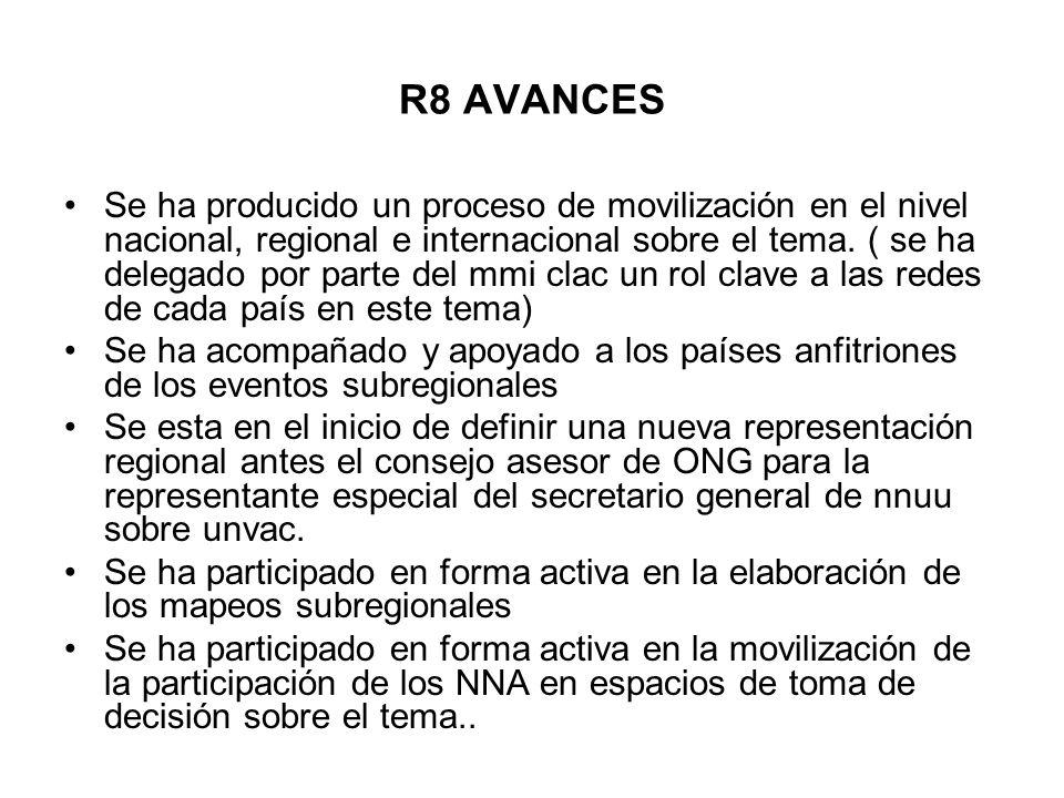 R8 AVANCES Se ha producido un proceso de movilización en el nivel nacional, regional e internacional sobre el tema. ( se ha delegado por parte del mmi