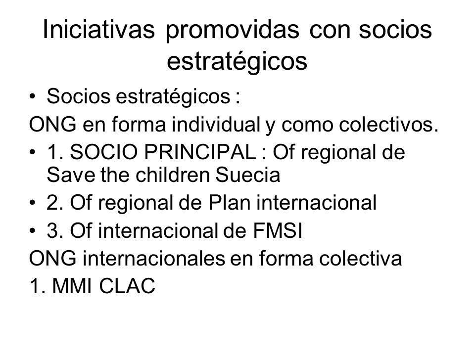Iniciativas promovidas con socios estratégicos Socios estratégicos : ONG en forma individual y como colectivos. 1. SOCIO PRINCIPAL : Of regional de Sa