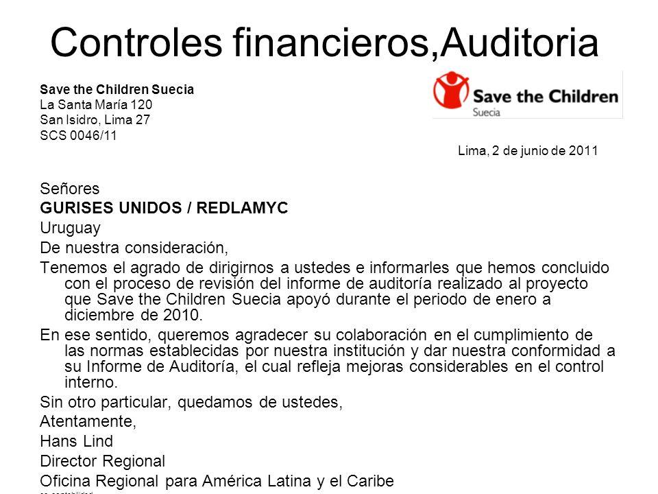 Save the Children Suecia La Santa María 120 San Isidro, Lima 27 SCS 0046/11 Lima, 2 de junio de 2011 Señores GURISES UNIDOS / REDLAMYC Uruguay De nues