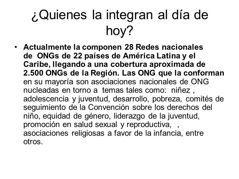 ¿Quienes la integran al día de hoy? Actualmente la componen 28 Redes nacionales de ONGs de 22 países de América Latina y el Caribe, llegando a una cob