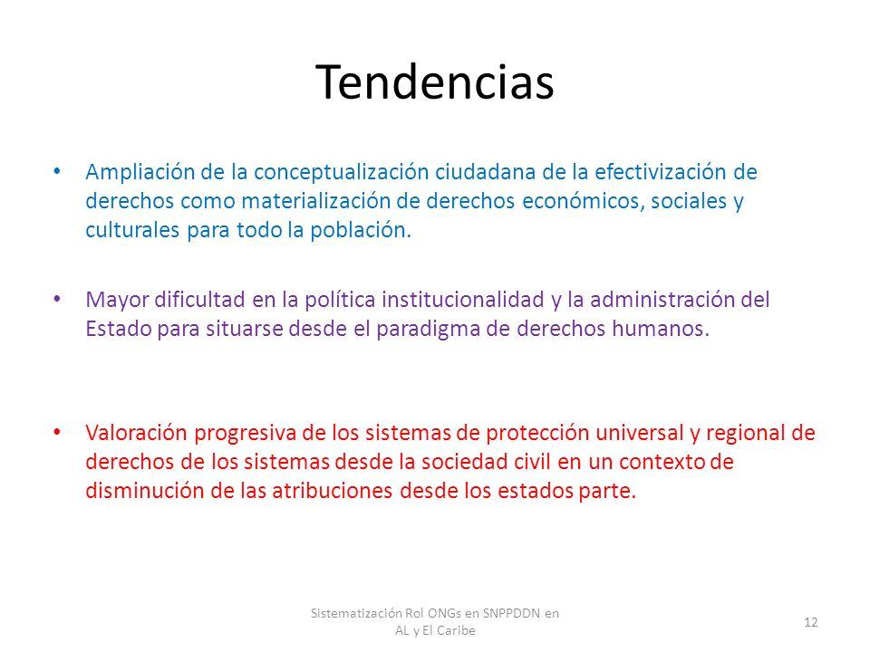 Tendencias Ampliación de la conceptualización ciudadana de la efectivización de derechos como materialización de derechos económicos, sociales y cultu