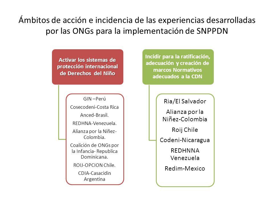 Ámbitos de acción e incidencia de las experiencias desarrolladas por las ONGs para la implementación de SNPPDN Activar los sistemas de protección inte