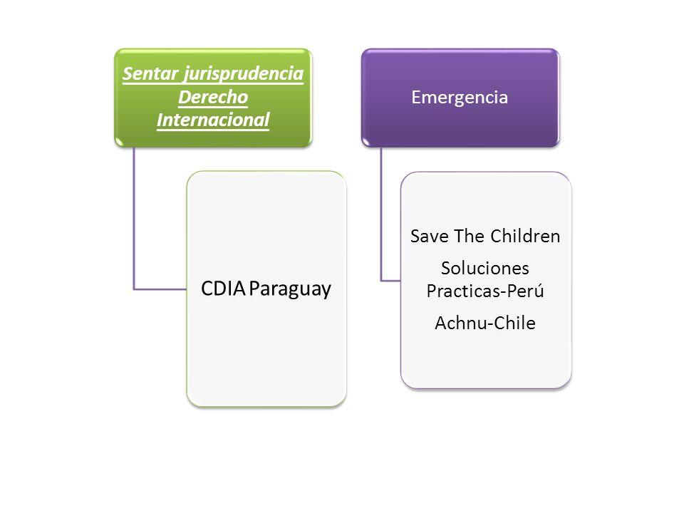 Sentar jurisprudencia Derecho Internacional CDIA Paraguay Emergencia Save The Children Soluciones Practicas-Perú Achnu-Chile