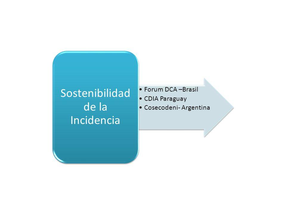 Forum DCA –Brasil CDIA Paraguay Cosecodeni- Argentina Sostenibilidad de la Incidencia