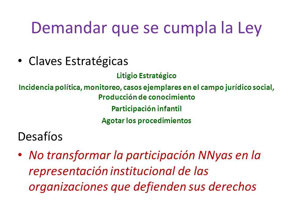 Demandar que se cumpla la Ley Claves Estratégicas Litigio Estratégico Incidencia política, monitoreo, casos ejemplares en el campo jurídico social, Pr