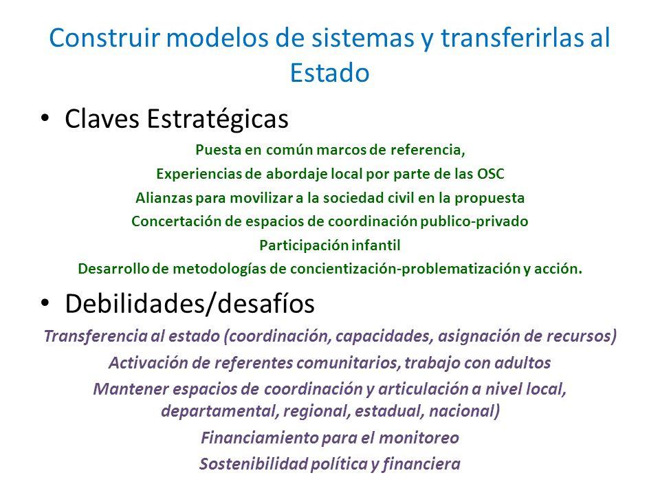 Construir modelos de sistemas y transferirlas al Estado Claves Estratégicas Puesta en común marcos de referencia, Experiencias de abordaje local por p