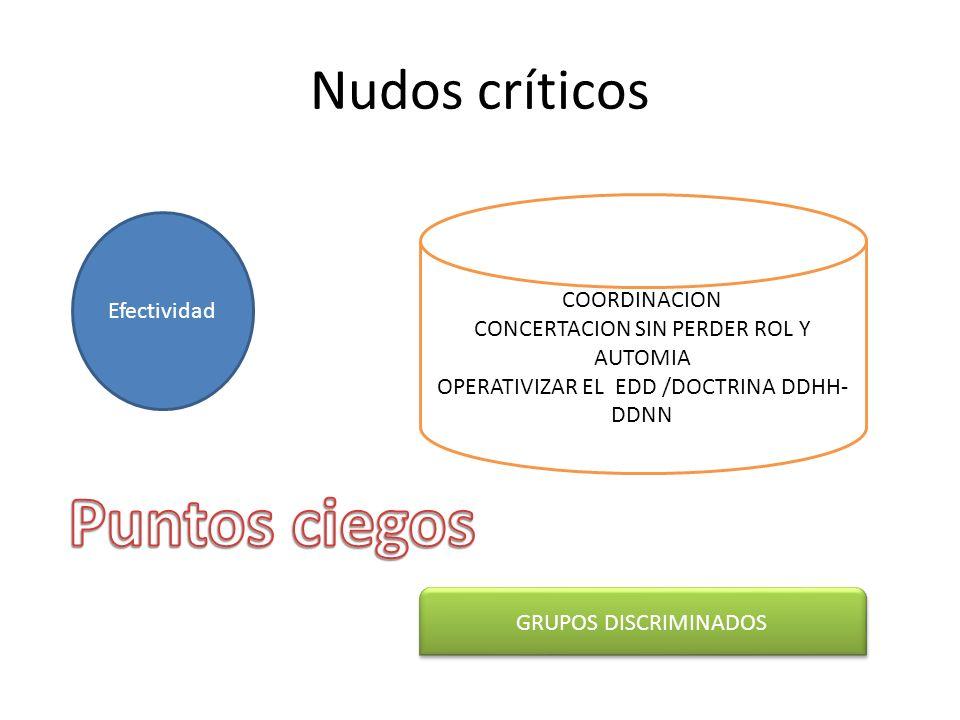 Nudos críticos Efectividad COORDINACION CONCERTACION SIN PERDER ROL Y AUTOMIA OPERATIVIZAR EL EDD /DOCTRINA DDHH- DDNN GRUPOS DISCRIMINADOS
