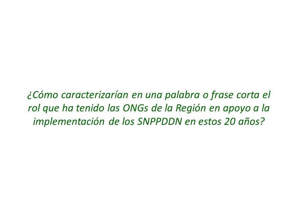 ¿Cómo caracterizarían en una palabra o frase corta el rol que ha tenido las ONGs de la Región en apoyo a la implementación de los SNPPDDN en estos 20