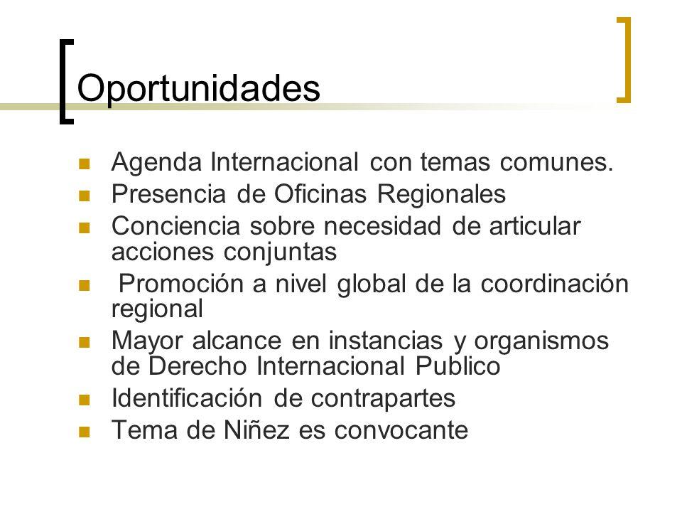 Oportunidades Agenda Internacional con temas comunes. Presencia de Oficinas Regionales Conciencia sobre necesidad de articular acciones conjuntas Prom
