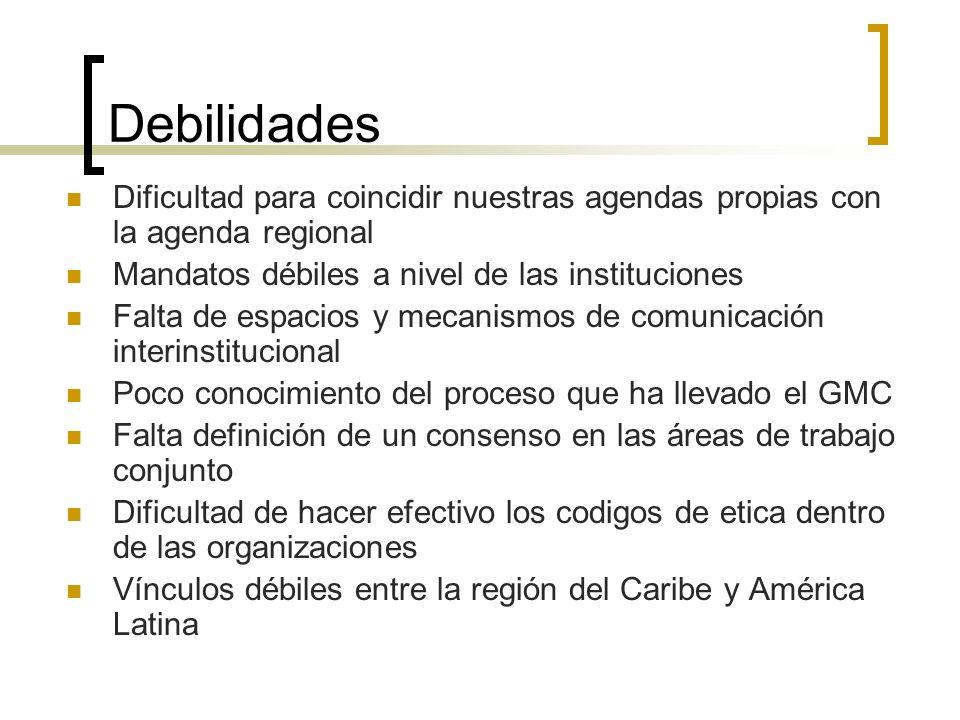 Debilidades Dificultad para coincidir nuestras agendas propias con la agenda regional Mandatos débiles a nivel de las instituciones Falta de espacios
