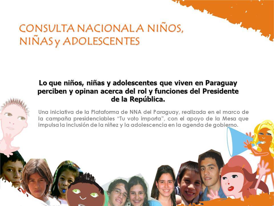 CONSULTA NACIONAL A NIÑOS, NIÑAS y ADOLESCENTES Lo que niños, niñas y adolescentes que viven en Paraguay perciben y opinan acerca del rol y funciones del Presidente de la República.