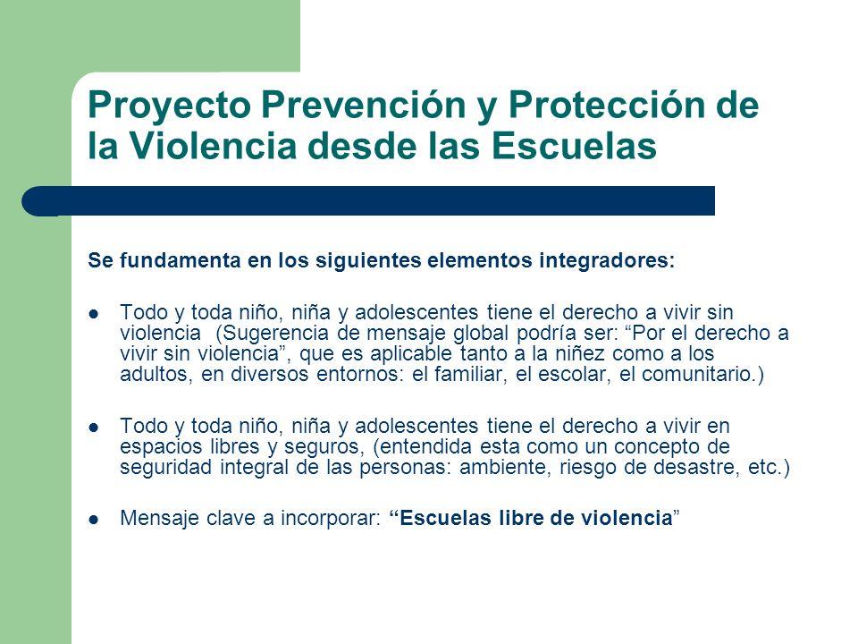 Proyecto Prevención y Protección de la Violencia desde las Escuelas Se fundamenta en los siguientes elementos integradores: Todo y toda niño, niña y a