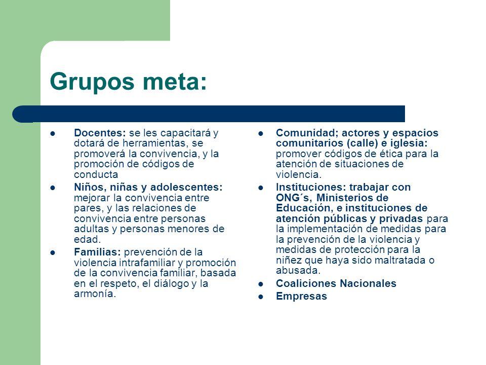 Grupos meta: Docentes: se les capacitará y dotará de herramientas, se promoverá la convivencia, y la promoción de códigos de conducta Niños, niñas y a