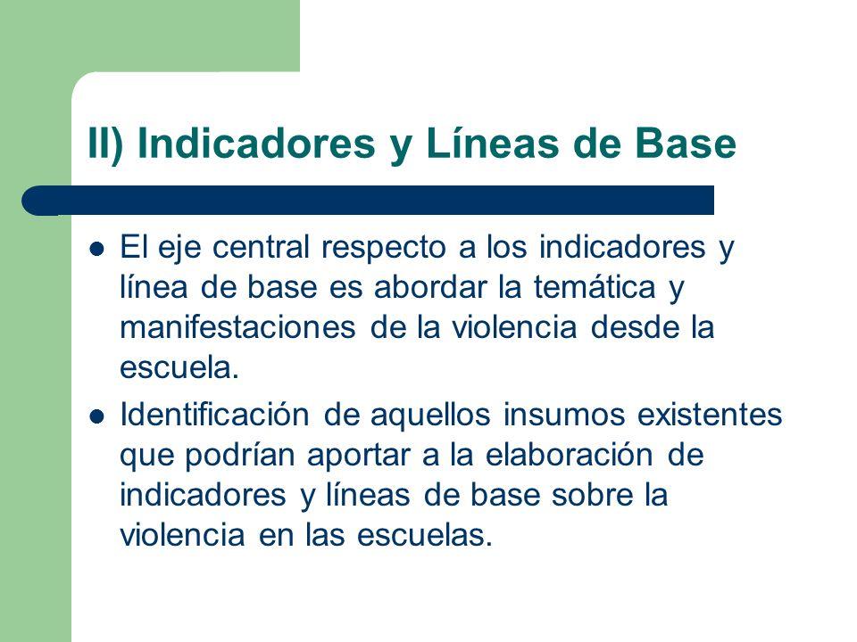 II) Indicadores y Líneas de Base El eje central respecto a los indicadores y línea de base es abordar la temática y manifestaciones de la violencia de