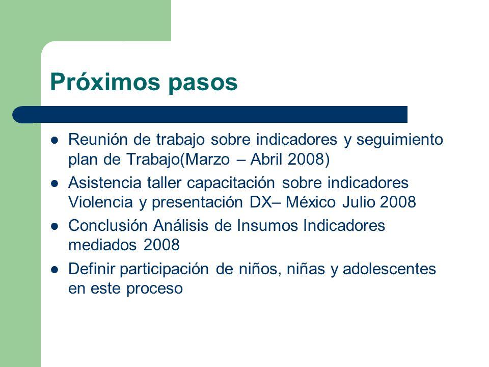 Próximos pasos Reunión de trabajo sobre indicadores y seguimiento plan de Trabajo(Marzo – Abril 2008) Asistencia taller capacitación sobre indicadores