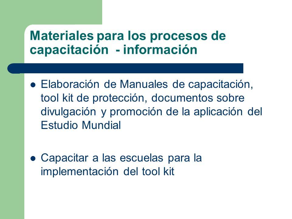 Materiales para los procesos de capacitación - información Elaboración de Manuales de capacitación, tool kit de protección, documentos sobre divulgaci