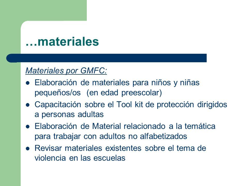 …materiales Materiales por GMFC: Elaboración de materiales para niños y niñas pequeños/os (en edad preescolar) Capacitación sobre el Tool kit de prote