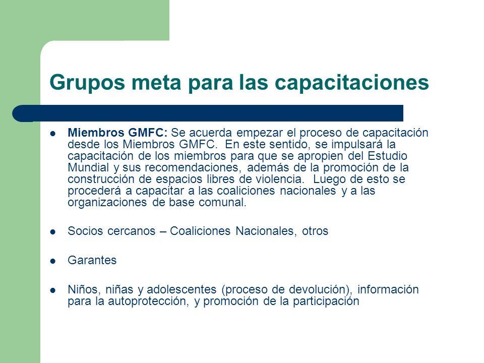 Grupos meta para las capacitaciones Miembros GMFC: Se acuerda empezar el proceso de capacitación desde los Miembros GMFC. En este sentido, se impulsar