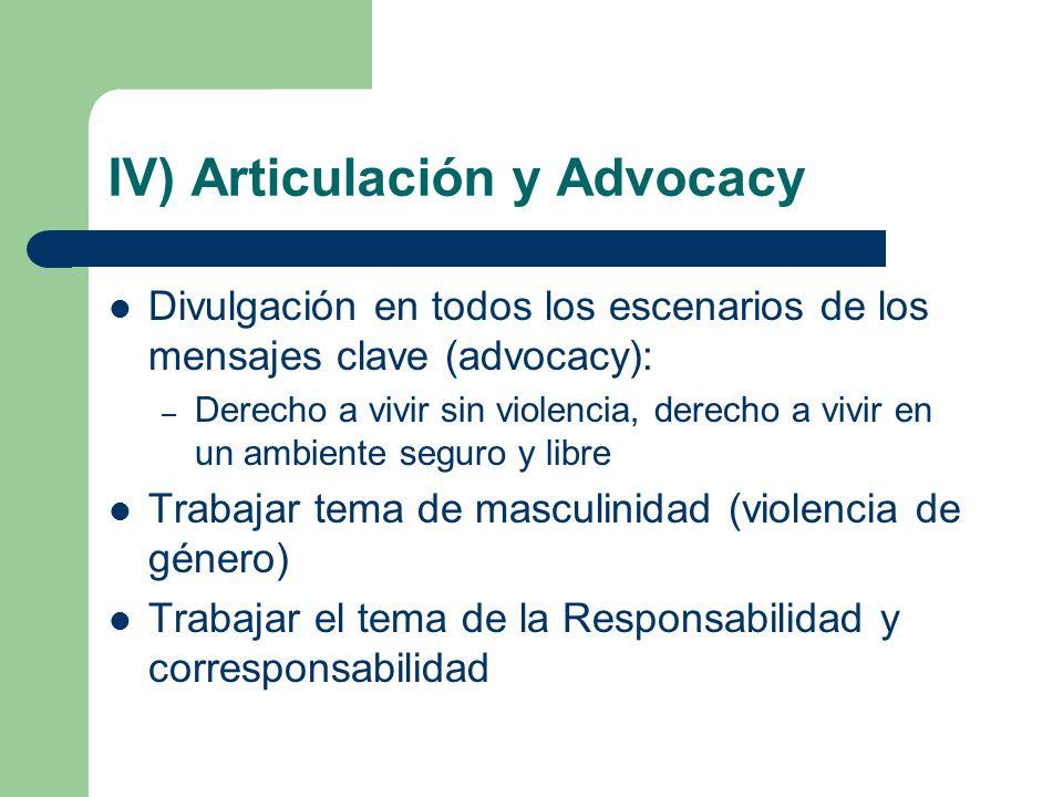IV) Articulación y Advocacy Divulgación en todos los escenarios de los mensajes clave (advocacy): – Derecho a vivir sin violencia, derecho a vivir en