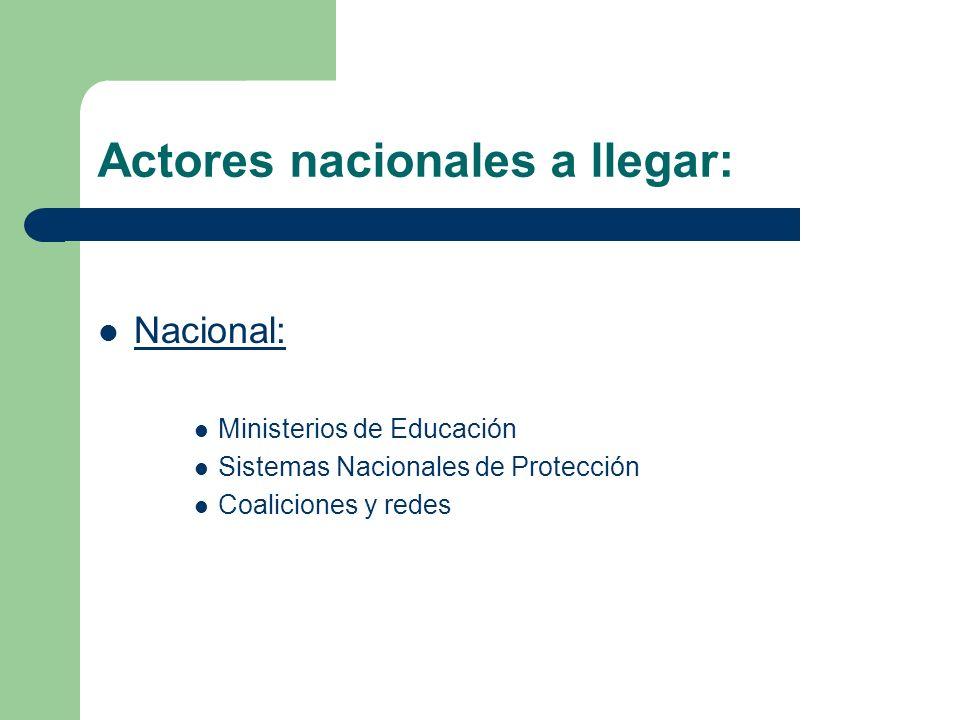 Actores nacionales a llegar: Nacional: Ministerios de Educación Sistemas Nacionales de Protección Coaliciones y redes