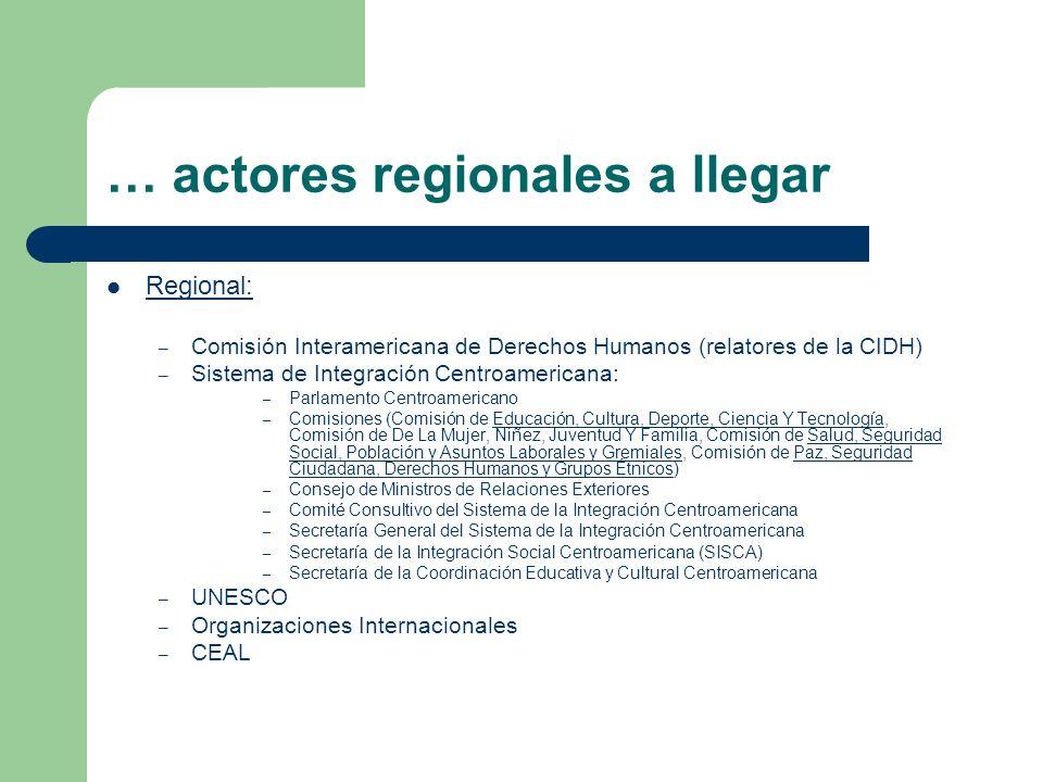 … actores regionales a llegar Regional: – Comisión Interamericana de Derechos Humanos (relatores de la CIDH) – Sistema de Integración Centroamericana: