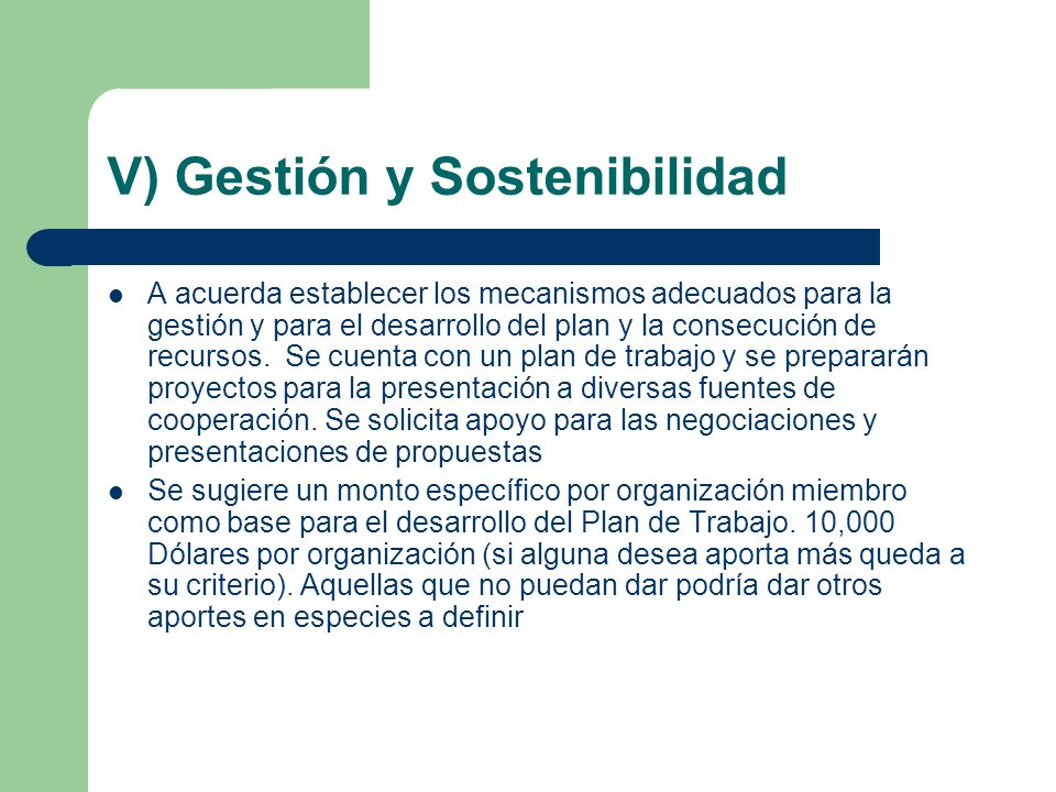 V) Gestión y Sostenibilidad A acuerda establecer los mecanismos adecuados para la gestión y para el desarrollo del plan y la consecución de recursos.