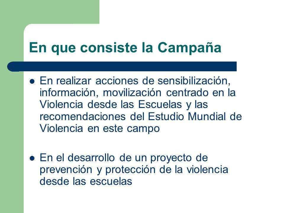 En que consiste la Campaña En realizar acciones de sensibilización, información, movilización centrado en la Violencia desde las Escuelas y las recome