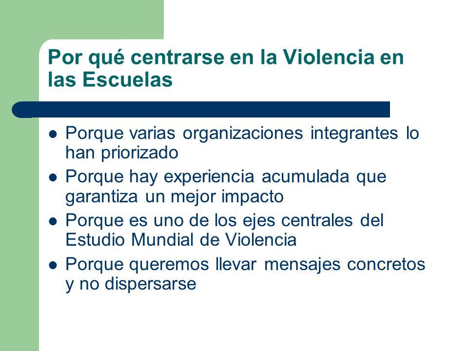 Por qué centrarse en la Violencia en las Escuelas Porque varias organizaciones integrantes lo han priorizado Porque hay experiencia acumulada que gara