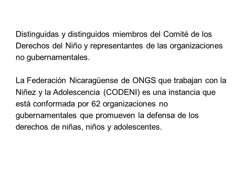 Distinguidas y distinguidos miembros del Comité de los Derechos del Niño y representantes de las organizaciones no gubernamentales.