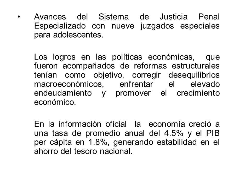 Avances del Sistema de Justicia Penal Especializado con nueve juzgados especiales para adolescentes.