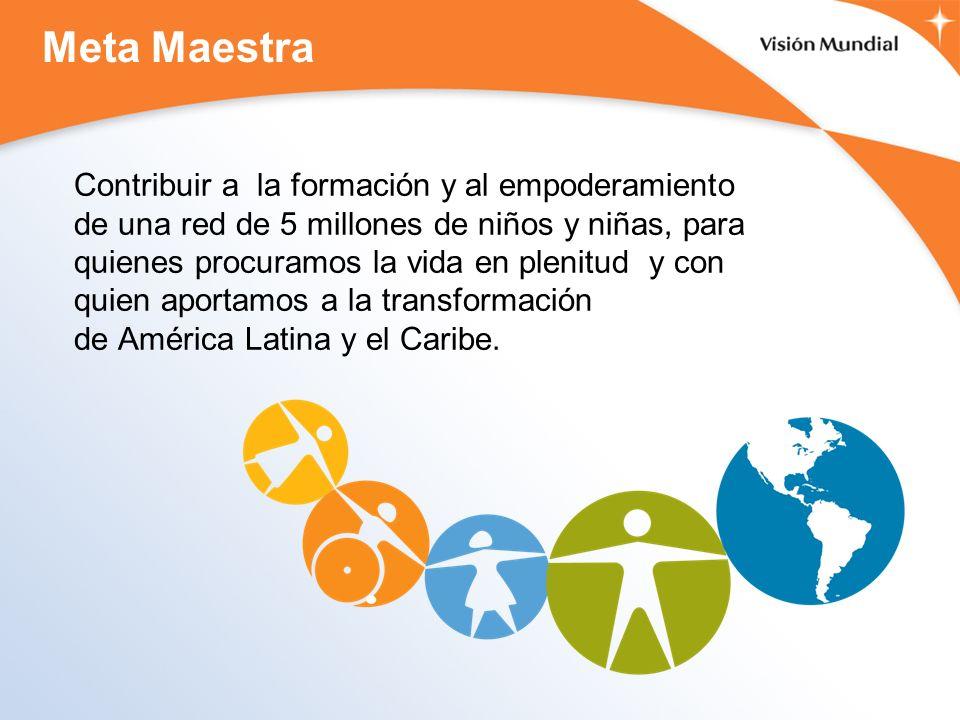 Meta Maestra Contribuir a la formación y al empoderamiento de una red de 5 millones de niños y niñas, para quienes procuramos la vida en plenitud y con quien aportamos a la transformación de América Latina y el Caribe.