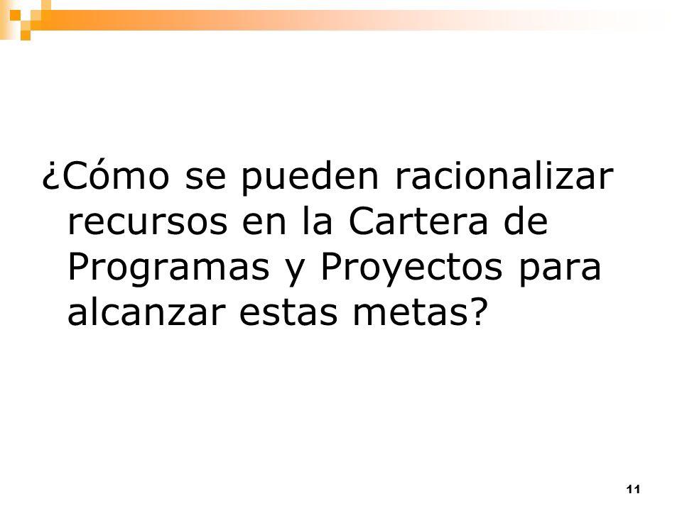11 ¿Cómo se pueden racionalizar recursos en la Cartera de Programas y Proyectos para alcanzar estas metas?