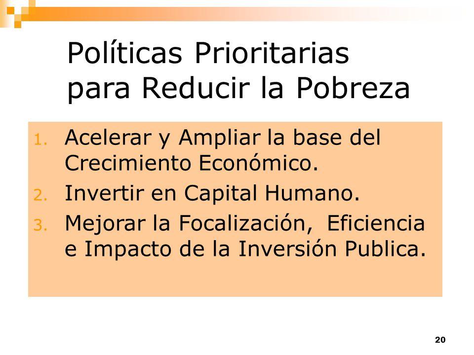 20 Políticas Prioritarias para Reducir la Pobreza 1. Acelerar y Ampliar la base del Crecimiento Económico. 2. Invertir en Capital Humano. 3. Mejorar l