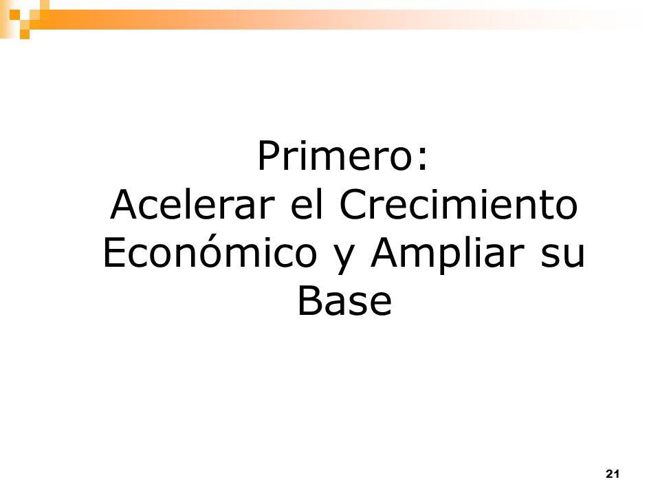 21 Primero: Acelerar el Crecimiento Económico y Ampliar su Base