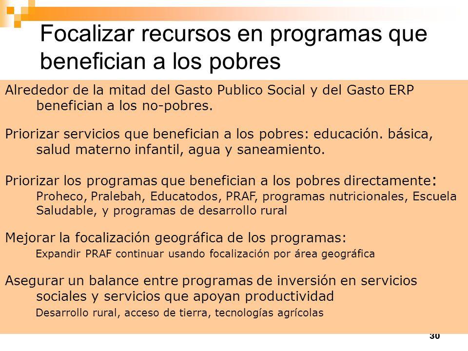 30 Alrededor de la mitad del Gasto Publico Social y del Gasto ERP benefician a los no-pobres. Priorizar servicios que benefician a los pobres: educaci