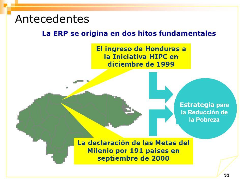 33 El ingreso de Honduras a la Iniciativa HIPC en diciembre de 1999 Estrategia para la Reducción de la Pobreza La declaración de las Metas del Milenio