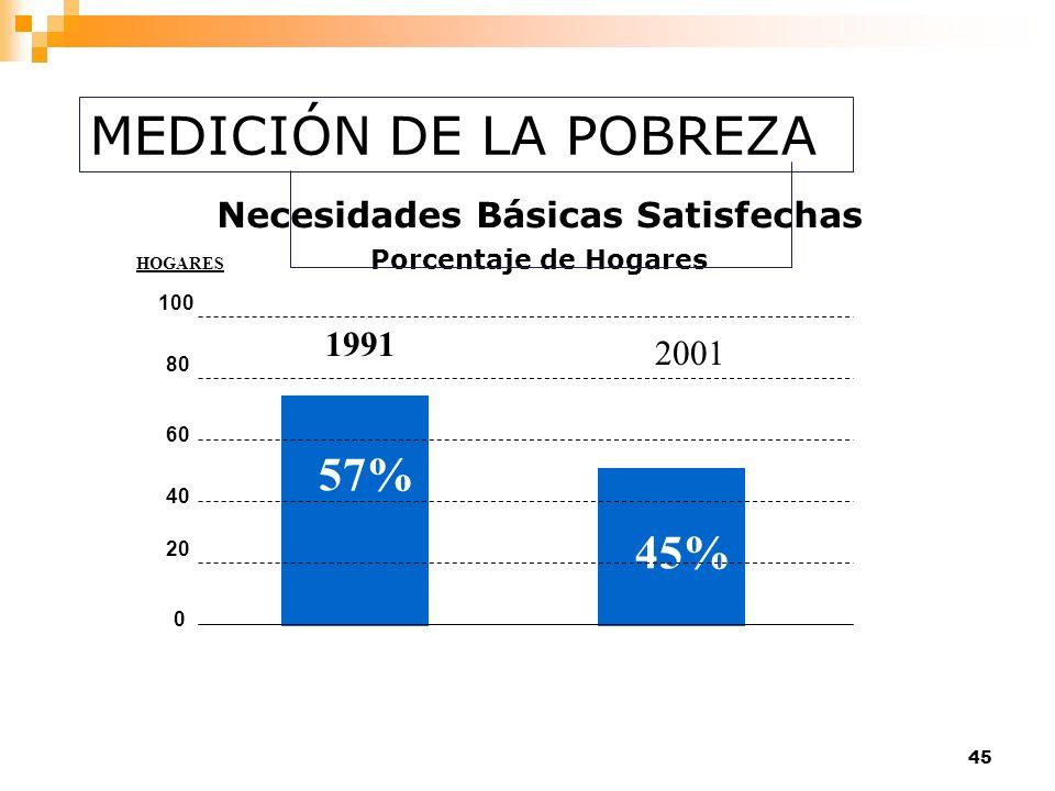 45 57% 45% 1991 2001 0 20 40 60 80 100 HOGARES Necesidades Básicas Satisfechas Porcentaje de Hogares MEDICIÓN DE LA POBREZA