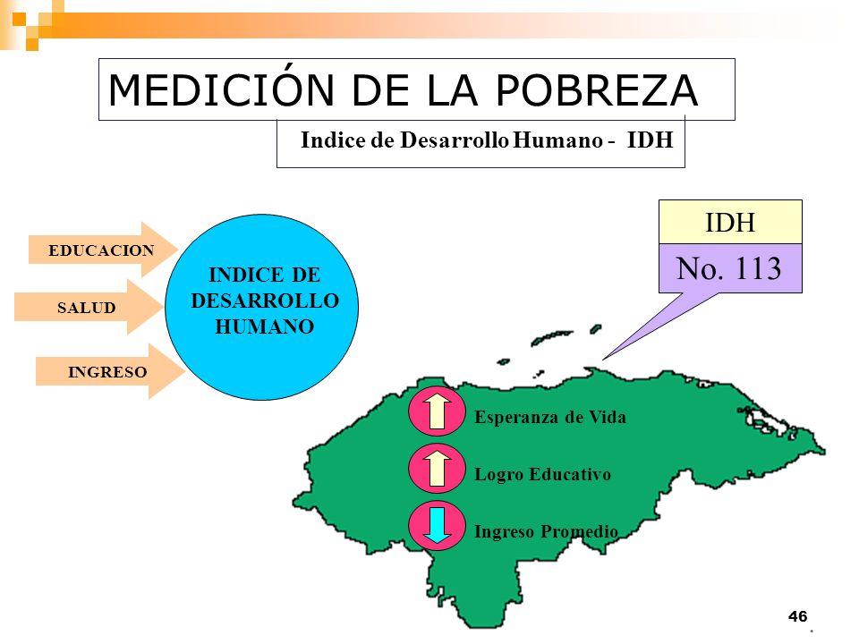 46 EDUCACION INDICE DE DESARROLLO HUMANO No. 113 Indice de Desarrollo Humano - IDH Esperanza de VidaLogro EducativoIngreso Promedio SALUDINGRESO IDH M
